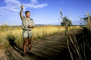 A scientist uses telemetrie to find the birds inside Mabula Private Game Reserve.