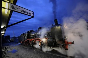 The locomotives boiler is heated up at night and everything is checked before the morning, then the train starts moving ... .