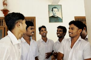 Under the benevolent gaze of Don Bosco, the former fighters learn to trust each other and share each others experiences.