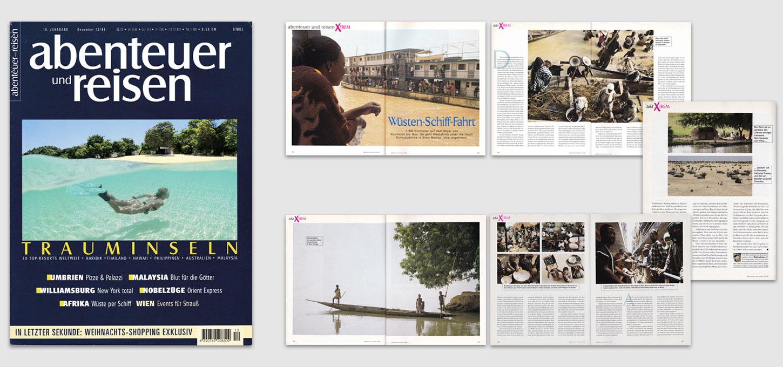 """Reisemagazin """"abenteuer & reisen"""" / Foto- u. Textreportage über eine Schiffsfahrt auf dem Niger in Mali"""