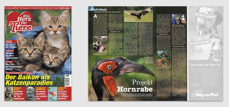 """Magazin """"Ein Herz für Tiere"""" / Foto- u. Textreportage über Afrikanische Hornraben"""