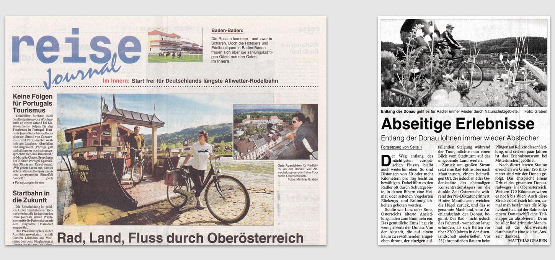 Reise-Journal der WAZ-Gruppe / Foto- u. Textreportage über Fahrrad-Urlaub in Österreich